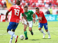 Press Eye - Belfast -  Northern Ireland - 03rd June 2018 - Photo by William Cherry/Presseye. Costa Rica\'s Kendall Watson and David Guzman with Northern Ireland\'s Shay McCartan during Sunday mornings International Friendly at the Nuevo Estadio Nacional de Costa Rica in San Jose.   Photo by William Cherry/Presseye