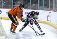 Press Eye - Belfast, Northern Ireland - 30th November 2019 - Photo by William Cherry/Presseye. Princeton Tigers\' Pito Walton with UNH Wildcats\' Chase Stevenson during Saturday afternoons Friendship Four game at the SSE Arena, Belfast.      Photo by William Cherry/Presseye