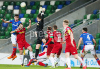 Danske Bank Premiership at Windsor Park, Belfast.  07.12.2019. Linfield FC Vs Cliftonville FC. Linfields Jimmy Callacher with Cliftonvilles Jamie Harney.. Mandatory Credit INPHO/Jonathan Porter
