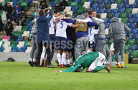 Press Eye-Belfast-Northern Ireland -12th November 2020. National Football Stadium at Windsor Park, Belfast. . 12/11/2020. Slovakia players celebrate at the final whistle after victory against Northern Ireland      during Thursday  night\'s UEFA Euro 2020  Play-off Final  at the National Football Stadium at Windsor Park,Belfast.. Mandatory Credit PressEye