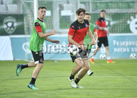 10th July  2018. Crusaders Gavin Whyte and Philip Lowry pictured at a training session ahead of tomorrows Champions league match between Ludogrets and Crusaders. Mandatory Credit: Inpho/Stephen Hamilton