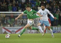 11th August 2018. International Friendly match between . Northern Ireland and Israel  at the national stadium in Belfast.. Northern Irelands Paddy McNair in action with Israels Moanes Dabour.  Mandatory Credit: Stephen Hamilton /Presseye