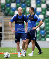 Press Eye - Belfast, Northern Ireland - 01st September 2020 - Photo by William Cherry/Presseye. Northern Ireland\'s Liam Boyce and Jonny Evans during Tuesday mornings training session at the National Stadium at Windsor Park, Belfast ahead of Friday nights Nations League game in Romania.    Photo by William Cherry/Presseye
