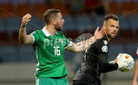 Press Eye - Belfast -  Northern Ireland - 11th June 2019 - Photo by William Cherry/Presseye. Belarus\' Alyaksandr Gutor with Northern Ireland\'s Conor Washington during Tuesday nights UEFA EURO 2020 Qualifier at the Borisov Arena, Belarus.      Photo by William Cherry/Presseye