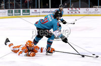 Press Eye - Belfast, Northern Ireland - 06th December 2019 - Photo by William Cherry/Presseye. Belfast Giants\' Liam Morgan with Sheffield Steelers\' Davey Phillips during Friday nights Elite Ice Hockey League game at the SSE Arena, Belfast.       Photo by William Cherry/Presseye