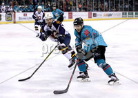 Press Eye - Belfast, Northern Ireland - 29th February 2020 - Photo by William Cherry/Presseye. Belfast Giants\' Liam Reddox with Guildford Flames\' Steve Lee during Saturday nights Elite Ice Hockey League game at the SSE Arena, Belfast.    Photo by William Cherry/Presseye