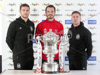 Press Eye Northern Ireland . Thursday 6th December 2018. Picture by Jonathan Porter  / Press Eye . . 5th Round Draw of the Tennent\'s Irish Cup that took place today in Pat Jennings Lounge, National Football Stadium at Windsor Park.. Linfield\'s Daniel Kearns, Mark Haughey and Ballyclare\'s Taylor Kirk.