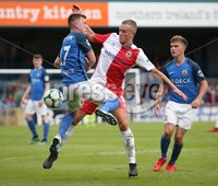 Danske Bank Premiership, Mourneview Park, Lurgan 4/8/2018. Glenavon FC vs  Linfield FC. Glenavon\'s James Singleton    and   Michael O\'Connor  of Linfield.. Mandatory Credit @INPHO/Brian Little.