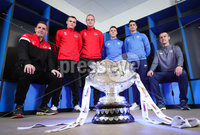 Press Eye - Belfast - Northern Ireland - 5th February 2020 - . NIFL  Bet McLean League Cup Final press night at the National Stadium.. Stephen Baxter from Crusaders FC and Oran Kearney from Coleraine FC with Rory Hale, Jordan Owens, Josh Carson and Aaron Traynor.. Photo by Kelvin Boyes / Press Eye.