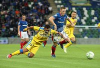UEFA Europa League- Qualifying Third Round-2nd Leg, Windsor Park, Belfast  12/8/2019. Linfield FC vs FK FK Sutjeska. Linfield\'s  Shayne Lavery  and   Darko Bulatovic    of FK Sutjeska.. Mandatory Credit  INPHO/Brian Little