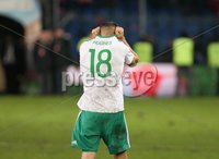 PressEye-Northern Ireland- 12th November  2017-Picture by Brian Little/ PressEye. Northern Ireland Aaron Hughes after the final whistle against Switzerland     during Sunday night\'s FIFA  World Cup play-off  second leg match at St Jacob Park, Basel.. Picture by Brian Little/PressEye