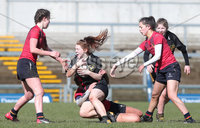 Press Eye Belfast - Northern Ireland 14th March 2019. Danske Bank Ulster Schools Girls X7s Senior Cup Final. Enniskillen Royal Grammar School(in red) vs Loreto Secondary School Letterkenny.. . Picture by Jonathan Porter/PressEye.com