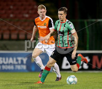 BetMcLean League Cup Round 3, The Oval, Belfast 10/10/2017. Glentoran vs Carrick Rangers. Glentoran\'s Marcus Kane with Carrick Rangers\' Andrew Mooney. Mandatory Credit ©INPHO/Matt Mackey