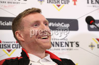 Press Eye - Belfast -  Northern Ireland - 27th April 2018 - Photo by William Cherry/Presseye. Cliftonville Captain Chris Curran pictured during Wednesday nights Tennents Irish Cup Press Conference at the National Stadium, Belfast.