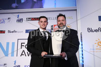 Press Eye - Belfast - Northern Ireland - 7th May 2018  - . NI Football Awards at the Crowne Plaza Hotel.. SODEXO CHAMPIONSHIP PLAYER OF THE YEAR. Michael McCrudden of Institute with Derek Coulter of Sodexo . Photo by Kelvin Boyes / Press Eye .