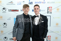Press Eye - Belfast - Northern Ireland - 7th May 2018  - . NI Football Awards at the Crowne Plaza Hotel.. Chris Johns and Gavin Whyte pictured at the Awards.. Photo by Kelvin Boyes / Press Eye .