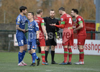 9th January 2021. Danske Bank Premiership, Solitude, Belfast . Cliftonville vs Crusaders. Cliftonville\'s players appeal against the penalty. Mandatory Credit INPHO/Stephen Hamilton