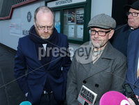 Press Eye - Belfast - Northern Ireland - 30th November 2018. . The Detail journalists Barry McCaffrey(right) and Trevor Birney(centre) pictured leaving PSNI Musgrave Street Station where they attended for further questioning after they were recently arrested regarding allegedly stolen information which appeared in the documentary \'No Stone Unturned\'.  The documentary told the story of the murder of six men by the UVF in a pub in Loughinisland, Co. Down. . The NUJ also held a protest outside the station in support of the two journalists. . Picture by Jonathan Porter/PressEye