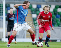 Irish Cup Fifth Round, Windsor Park, Belfast 6/1/2018. Linfield vs Glebe Rangers. Linfield\'s Achille Campion with Glebe\'s Jackie Morrison. Mandatory Credit ©INPHO/Jonathan Porter