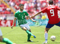 Press Eye - Belfast -  Northern Ireland - 03rd June 2018 - Photo by William Cherry/Presseye. Costa Rica\'s Daniel Colindres with Northern Ireland\'s Conor McLaughlin during Sunday mornings International Friendly at the Nuevo Estadio Nacional de Costa Rica in San Jose.   Photo by William Cherry/Presseye