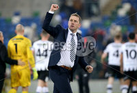 Unite the Union Champions Cup First Leg, National Football Stadium at Windsor Park, Belfast 8/11/2019. Linfield vs Dundalk. Dundalk manager Vinny Perth after the game. Mandatory Credit  INPHO/Brian Little