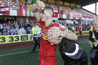 12th May 2018. Europa league play off final between Cliftonville and Glentoran at Solitude in Belfast.. Cliftonville\'s Jay Donnelly with manager Barry Gray. Mandatory Credit: Inpho/Stephen Hamilton