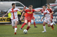Danske Bank Premiership, Solitude Belfast, Co Antrim 10/03/2018. Cliftonville  vs Crusaders . Cliftonville\'s Chris Curran  in action with Crusaders Declan Caddell . Mandatory Credit ©INPHO/Stephen Hamilton.