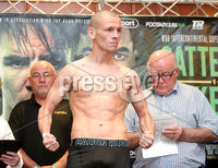 Press Eye - Belfast - Northern Ireland - 29th June 2018. Weigh in at the Europa Hotel in Belfast ahead of Michael Conlan\'s homecoming fight against Brazilian Adeilson Dos Santos at the SSE Arena on Saturday night. . Joe Ham weighs in.. Picture by Jonathan Porter/PressEye