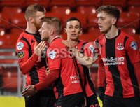 3/12/2019. Bet McLean league cup semi final between Crusaders and Institute at Seaview.. Crusaders David Cushley celebrates after scoring . Mandatory Credit Inpho/Stephen Hamilton