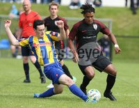 Press Eye - Belfast - Northern Ireland -25/08/2017. Picture by Dessie Loughery. SuperCupNI Premier Section . Strikers Vs Otago during Wednesday\'s SuperCup NI Premier Section match at Scroggy Road Limavady. Strikers Coby Atkinson in action with Dominic Madden