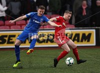 Danske Bank Premiership, Solitude, Belfast 1/12/2018 . Cliftonville vs Dungannon Swifts. Douglas Wilson Dungannon and Chris Curran Cliftonville. Mandatory Credit INPHO/Freddie Parkinson