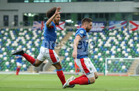 UEFA Europa League- Qualifying Third Round-2nd Leg, Windsor Park, Belfast  12/8/2019. Linfield FC vs FK FK Sutjeska. Linfield\'s Mark Stafford celebrates  scoring  the opening goal against           FK Sutjeska.. Mandatory Credit  INPHO/Brian Little