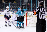 Press Eye - Belfast -  Northern Ireland - 24th August 2019 - Photo by William Cherry/Presseye . Belfast Giants\' Liam Reddox celebrates scoring against Herning Blue Fox during Saturday nights Exhibition Game at the SSE Arena, Belfast.    Photo by William Cherry/Presseye