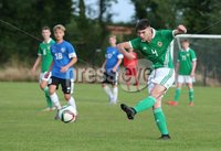 PressEye-Northern Ireland- 19th August  2019-Picture by Brian Little/PressEye. Northern Ireland U16 Michael Forbes against  Estonia U16   during Monday evening\'s challenge match at Breda Park (Knockbreda FC).. Picture by Brian Little/PressEye .
