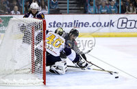 Press Eye - Belfast, Northern Ireland - 04th October 2019 - Photo by William Cherry/Presseye. Belfast Giants\' Ben Lake with Guildford Flames\' Travis Fullerton during Friday nights EIHL game at the SSE Arena, Belfast.   Photo by William Cherry/Presseye
