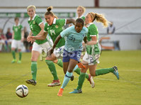 Press Eye - Belfast - Northern Ireland - 8th June. World Cup qualifier - Northern Ireland  v Netherlands at Shamrock Park Portadown.. Northern Irelands Rachel Newborough tracks   Netherlands Lineth Beerensteyn and gives away a penalty. Mandatory Credit: Presseye/Stephen Hamilton