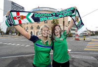 Press Eye - Belfast -  Northern Ireland - 11th November 2017 - Photo by William Cherry/Presseye. Northern Ireland fans Julie McCullagh and Janine Davis in Basel ahead of Sunday nights World Cup Play Off against Switzerland at St. Jakob-Park, Basel.