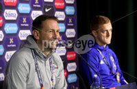 Press Eye - Belfast, Northern Ireland - 13th October 2020 - Photo by William Cherry/Presseye. Northern Ireland\'s Ian Baraclough and George Saville during Tuesday nights press conference at the Ullevaal Stadium ahead of Wednesdays UEFA Nations League game against Norway in Oslo. Photo by William Cherry/Presseye