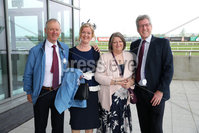 Press Eye - Belfast - Northern Ireland - 7th May 2018  - . May Day Meeting at Down Royal Racecourse.. Bernard Hargreaves, Geraldine Hargreaves, Peter Hart and Barbara Hart pictured at the County Down racecourse.. Photo by Kelvin Boyes / Press Eye .