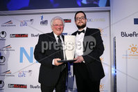 Press Eye - Belfast - Northern Ireland - 7th May 2018  - . NI Football Awards at the Crowne Plaza Hotel.. MERIT AWARD . Chairman Keith Bailie makes a presentation to Jackie Fullerton.. Photo by Kelvin Boyes / Press Eye .