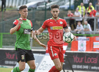 4th August 2018. Danske Bank Irish premier league match between Glentoran and Cliftonville at The Oval in Belfast.. Glentorans Marcus Kane  in action with Cliftonvilles Jay Donnelly.  Mandatory Credit: Stephen Hamilton /Inpho