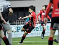 3/12/2019. Bet McLean league cup semi final between Crusaders and Institute at Seaview.. Crusaders Jordan Forsythe scores . Mandatory Credit Inpho/Stephen Hamilton