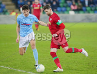 County Antrim Shield Final -  Windsor Park.  21.01.20. Cliftonville FC vs Ballymena United. Cliftonvilles Garry Breen with Ballymenas Adam Lecky. Mandatory Credit INPHO/Jonathan Porter