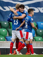 Danske Bank Premiership, National Football Stadium at Windsor Park, Belfast, Northern Ireland 17/10/2020. Linfield vs Carrick Rangers. Linfields Ryan McGivern celebrates scoring a goal. Mandatory Credit INPHO/Declan Roughan