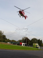 Press Eye - Belfast - Northern Ireland - 14th September 2020 - . Lorry overturned on the Kempe Stones Road, Newtwonards.. Emergency crews, including the Northern Ireland Ambulance Service and PSNI, are currently at the scene.. Photo by Press Eye.