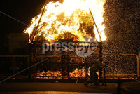 Press Eye - Belfast - Northern Ireland - 11th July  2018 . General view of a small bonfire off Templemore Avenue, Newtownards Road in East Belfast.. It comes after the PSNI issued a notice informing the public that paramilitaries intend to orchestrate serious disorder against police officers on the Eleventh night.. Photo by Kelvin Boyes / Press Eye..
