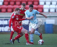 Press Eye - Belfast - 6th January 2018  . Cliftonville v Warrenpiont Town, Tennents Irish Cup 5th round at Solitude, North Belfast.. Cliftonville\'s Ross Lavery in action with Warrenpiont Town\'s Seanna Foster. Picture by Matt Mackey / Inpho.ie