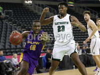 Press Eye - Belfast -  Northern Ireland - 30th November 2018 - Photo by William Cherry/Presseye. Albany\'s Devonte Campbell with Dartmouth\'s Chris Knight during Friday afternoons Samson Bracket Consolation game in the Basketball Hall of Fame Belfast Classic at the SSE Arena, Belfast.