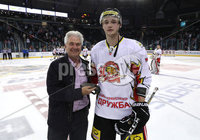 Press Eye - Belfast -  Northern Ireland - 11th January 2019 - Photo by William Cherry/Presseye. HK Gomels player of the game Yegor Ivanov is presented after Friday nights Continental Cup Final game at the SSE Area, Belfast.   Photo by William Cherry/Presseye