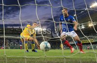UEFA Europa League- Qualifying Third Round-2nd Leg, Windsor Park, Belfast  12/8/2019. Linfield FC vs FK FK Sutjeska. Linfield\'s Matthew Clarke scores a goal against   FK Sutjeska.. Mandatory Credit  INPHO/Brian Little